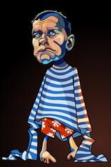 cartoon caricature of a sad man in a striped vest
