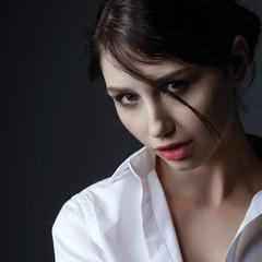 Beauty portrait of a sensual brunette girl