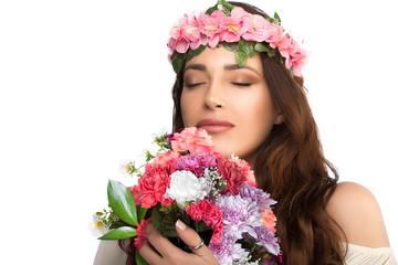 Beautiful Brunette Girl Smelling Fresh Spring Flowers