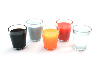 glasses with drink and juices