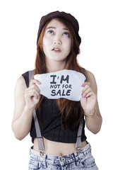 Depressed girl victim human trade