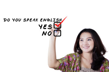 Female teenager learn English