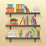 Fototapety Shelves with colorful books