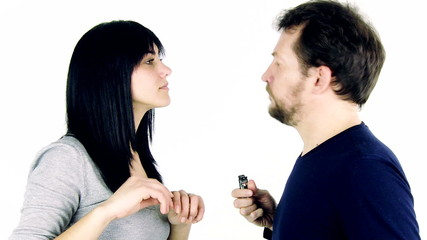 It's time to quit smoking woman breaking cigarette of boyfriend