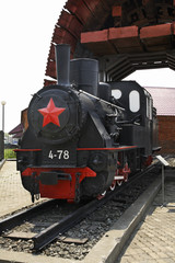 Steam locomotive in railway museum. Yuzhno-Sakhalinsk