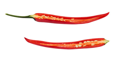 Cutted fresh chilli pepper isolated on a white background