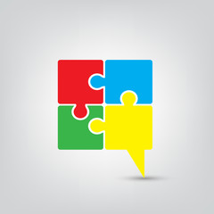 Talk chat icon speech bubble puzzle vector illustration
