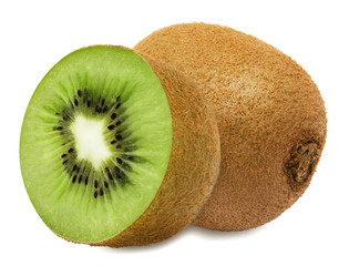 Juicy kiwi with section isolated on white background