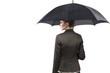 Attractive businesswoman holding an umbrella
