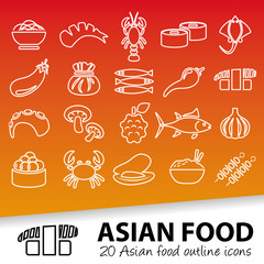 asian food outline icons