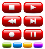 Rounded rectangle multimedia buttons