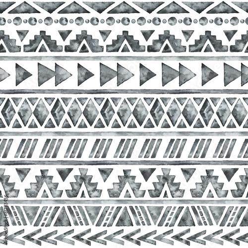 Cotton fabric Ethnic watercolor seamless pattern.