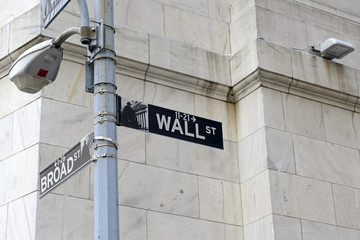Wall Street sign on post, lower Manhattan, New York