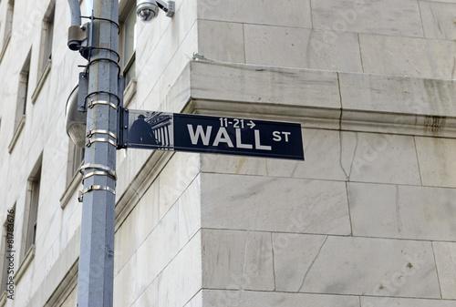 Wall Street sign on post, lower Manhattan, New York