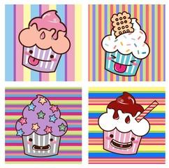 Desenho Cupcake kawaii Set 01