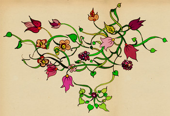 Floral ornament with leaves flowers and berries
