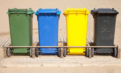 Containers in a row for separate garbage collection