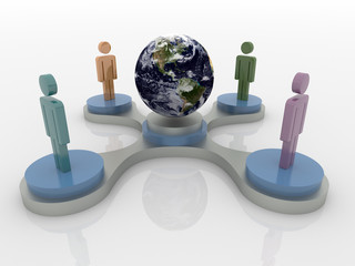 People on podium around the world, Social Network 3D Concept