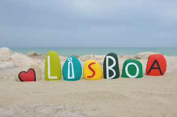 Lisboa, Lisbon in my heart, souvenir with colored stones