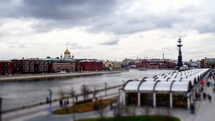 Moscow river quay view , timelapse tilt-shift 4k