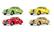 Four different colored vintage cars