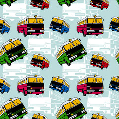 Seamless pattern with buses