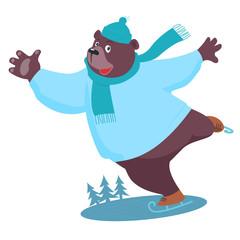 Cartoon Bear ice skating