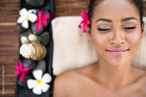 Serene beautiful spa woman relaxing - 81786279