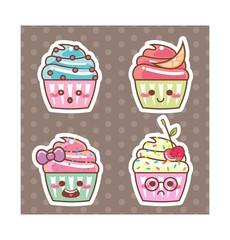 Desenho Cupcake kawaii adesivo 06