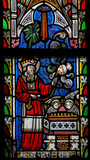 Stained Glass window depicting the Bible Verse Leviticus 7:35 poster