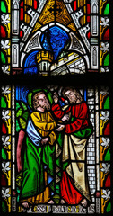 Jesus to Thomas: Stop doubting, but believe - Stained Glass