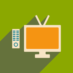 Flat with shadow icon and mobile applacation tv
