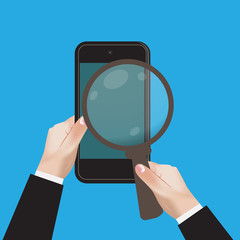 hand, mobile, magnifying, glass, search, vector, illustration