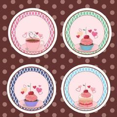 etiqueta, adesivo, selo bolo, cupcake, chá 01