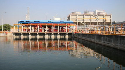 Fire water pond in industrial plant