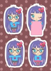 Desenho mangá, anime, garota, teen, personagem 02