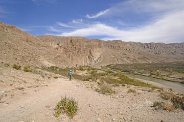 Hiker Enjoying the Desert View