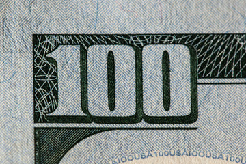 One Hundred Dollar BIll Detail