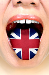 Woman With British Flag On Her Tongue