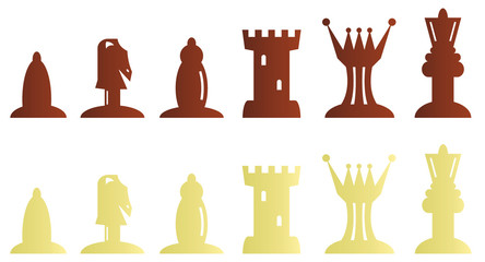 Black and white chess pieces bitmap illustration