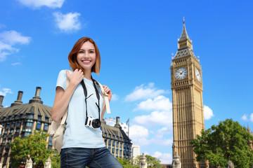 Happy travel woman in London