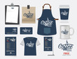 Vector coffee cafe restaurant set, T-Shirt, menu, namecard and f - 81790643