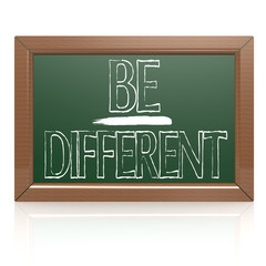 Be Different written with chalk on blackboard
