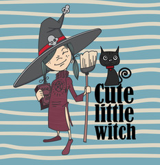 cute little witch and cat.