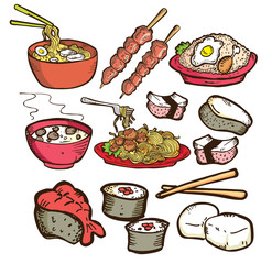 set of asian food in doodle style