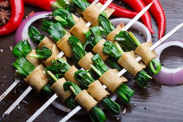 Grilled leeks, Roasted Vegetable and tofu skin