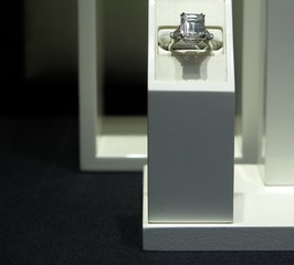 Diamond engagement ring for sale in jewelry store display