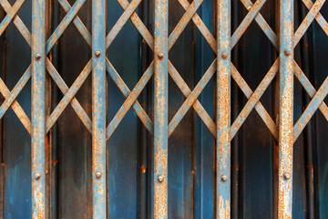 Blue old steel door and more rusty