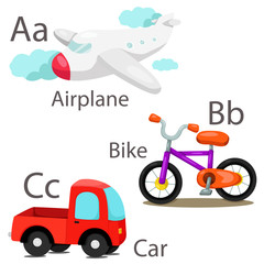 Illustrator of vehicle set with airplane bike and car
