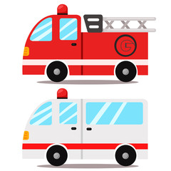 ambulance and Fire truck